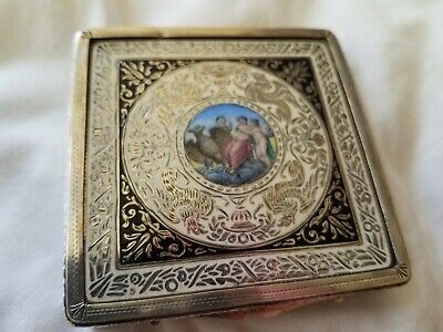 Antique Sterling and Enamel Nudes  Cigarette Case, marked 800