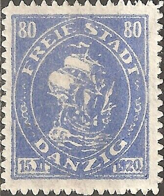 UN-USED 1920 Proclamation of the Free City of Danzig 80 Pf. Stamp Merchant Ship