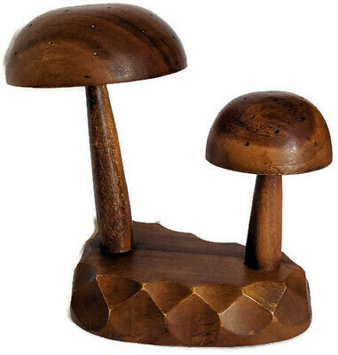 1960's Hand Carved Solid Monkey Pod Wood MUSHROOMS Toothpick Appetizer Holder MC