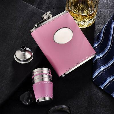 Pink Hip Flask Set Women PU Leather Stainless Steel Funnel 4 Cups Christmas GIFT
