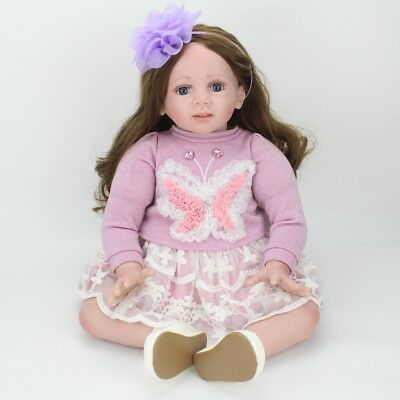 24''Toddler Reborn Vinyl Silicone Real Life Newborn Baby Girl Dolls+Clothes