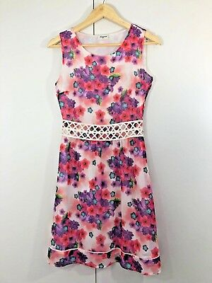 Jeans West Womens Dress Size 8 Red Purple Green White Floral Casual Work Summer