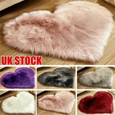 Soft Heart Shaped Fluffy Area Rug Shaggy Floor Mat Fur Home Bedroom Hairy Carpet