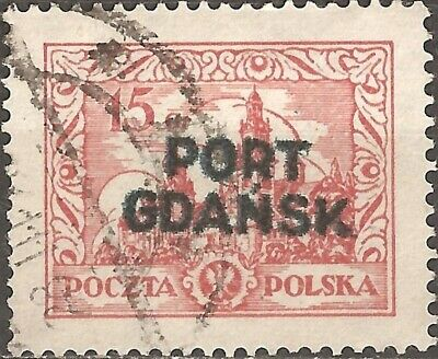 USED 1926 STAMP 15 Gr. POLAND Port Gdansk Overprint CARMINE RED Poczta Polska