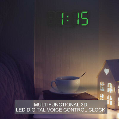 Digital 3D LED Wall/Desk Clock Snooze Alarm Big Digits Auto Brightness Clock NEW