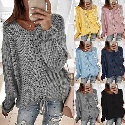 Womens Tie Up Sweater Pulllover Jumper Ladies Long Sleeve Casual Knitted Tops