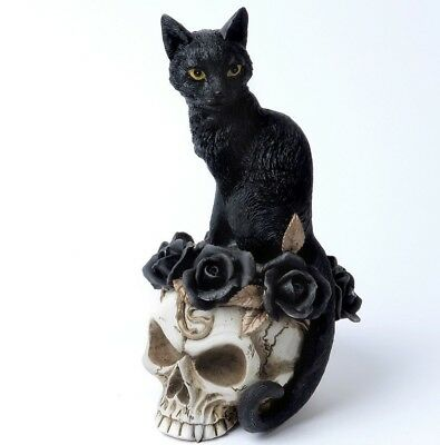 Grimalkin's Ghost Black Cat Skull Desk Ornament Statue Decor Alchemy Gothic V71