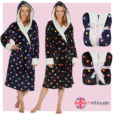 Ladies Womens Polka Dot Dressing Gown Bath Robe Knee Length Plush Sherpa Fleece