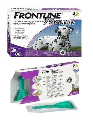 Frontline Plus for Dogs 45-88 lbs 3 Doses Genuine USA