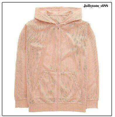Girls Airtex Over Sized Bomber Jacket in Blush Pink 11 to 16 Years BNWT