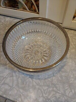 "Gorgeous Vintage Crystal 9"" Bowl With Metal Trim Cut Glass Bowl"