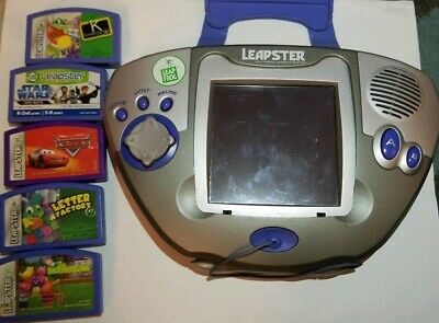LEAP FROG LEAPSTER L-MAX EDUCATIONAL LEARNING GAME SYSTEM BLUE 5 games