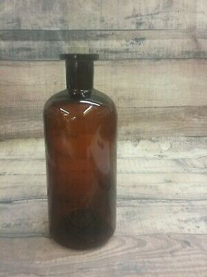 "Vintage 7 1/2"" Amber Apothecary Medicine Tonic Bottle with Cork"