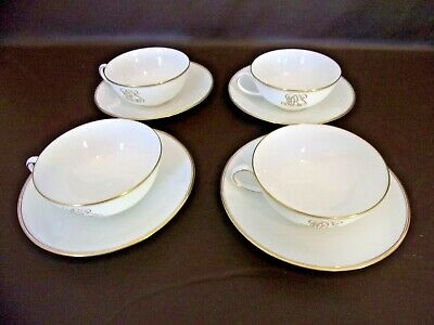Set of 4 Cauldon Ltd. China Cups & Saucers With Gold Monogram (Imperfect)