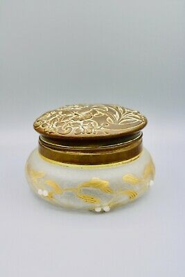Antique Vintage Vanity Dresser Powder Jar Art Nouveau Repousse Brass Lid Patina