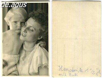 Vintage Postcard Photo circa 1930s beautiful young woman with very cute boy