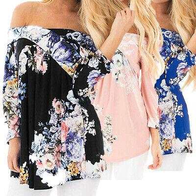 Women Boho Floral Off Shoulder Tops 3/4 Sleeve T Shirts Loose Pleated Blouse Top
