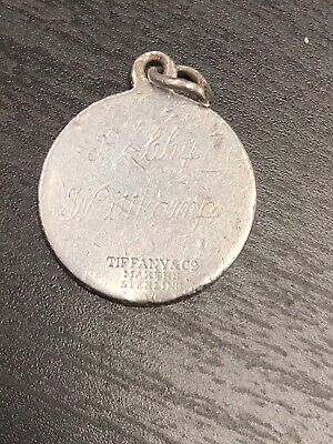 Tiffany And Co. Makers Sterling Silver Round Charm Engraving Tag