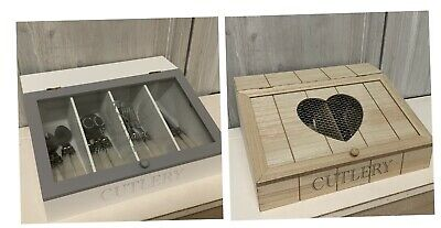French Grey Country Wooden Cutlery Box Tray Lid Kitchen Storage Vintage Glass