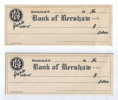 19__ Bank of Kershaw, SC - Group of Bank Drafts/Booklet