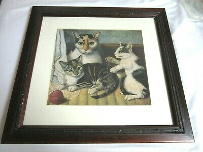 "Cats Wooden Framed Picture w/ Glass 15"" x 16"""
