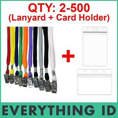 Id Card Holder Clear Name Tag Zip Lock Pouch + Neck Lanyard Alligator Clip Strap