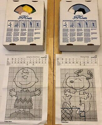 2 Peanuts Charlie Brown & Snoopy J&P Coats Latch Hook Kits Rug *partially hooked