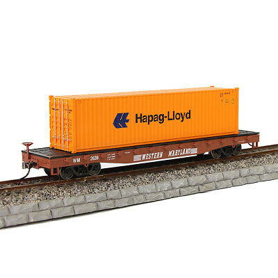 HO Scale WESTERN MARYLAND 52' Flat Car with 40ft Shipping Container Freight Car