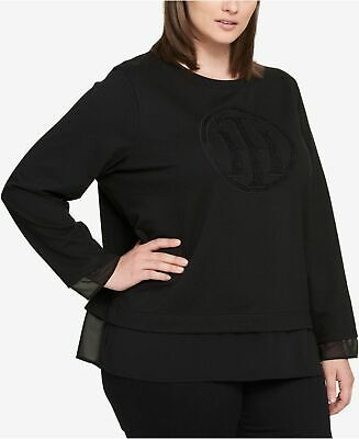 Tommy Hilfiger Womens Plus Jewel Neck Illusion Sweatshirt Black 1X