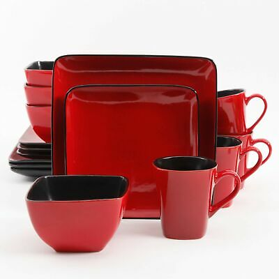 Rave Square Dinnerware, Red dishes square stoneware bowls plates mugs dessert