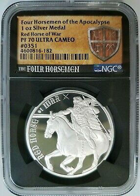 Four Horsemen Of The Apocalypse Series - Red Horse of War Silver NGC PF 70 UC