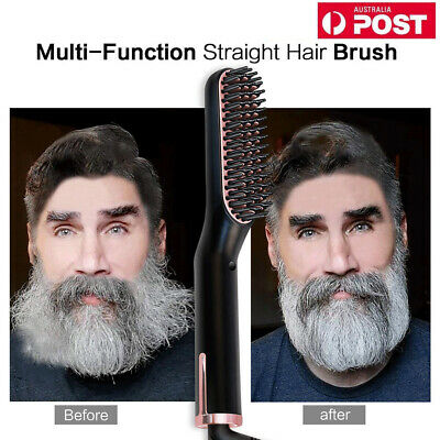 3in1 Men Quick Beard Straightener Multifunctional Hair Comb Curling Curler Tools