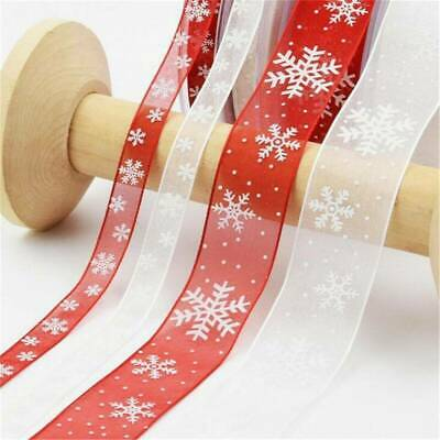 10M Wired Red & Gold Glitter Snowflake Christmas Ribbon Xmas Cake Wreath Tree