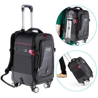 Neewer 2-in-1 Rolling Camera Backpack Trolley Case with 4 Double Spinner Wheels