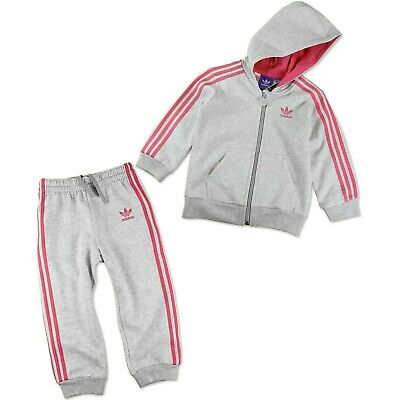 Adidas Originals Leisure Suit Tracksuit Pullover + Trousers Baby Grey Pink 74