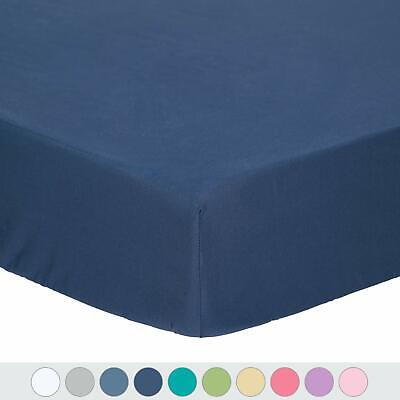 TILLYOU Microfiber Silky Soft Crib Sheet Navy, Hypoallergenic Breathable Fitted