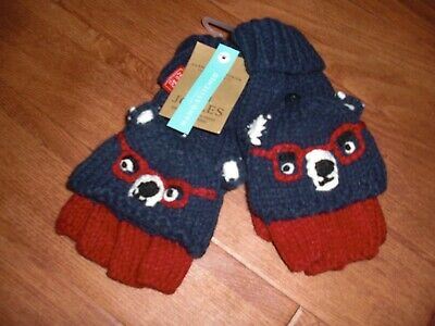 Bnwt Boyss Joules Chum Bear Fingerless Gloves Mittens Age 8-12 Y.stocking Filler