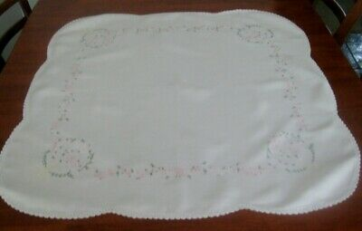 Vintage Hand Embroidered Supper Cloth~Small Pink Flowers~White~Cotton~Lace Edge