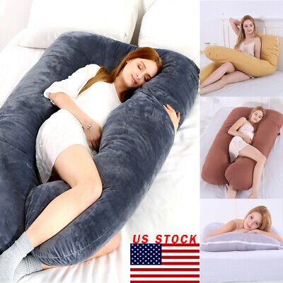 US Full Body Maternity Bed Pregnancy Pillow U Shape Comfortable Cotton Support