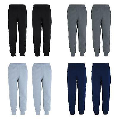 Kids Plain Pants Boys Tracksuit Bottoms Girls Fleece Joggers Bundle (Pack of 2)