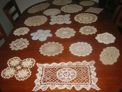 20 Vintage Crocheted Lace Doilies ~ Cotton ~ Shades Of White, Cream, Beige &Blue