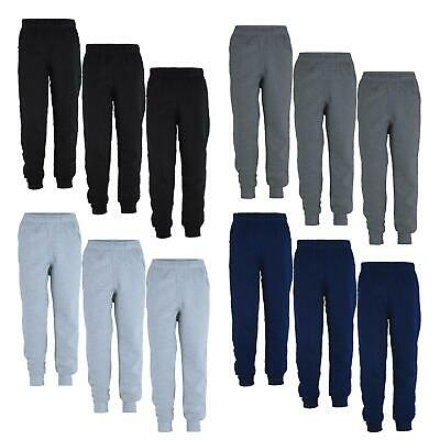 Kids Plain Pants Girls Fleece Jogging Boys Tracksuit Bottoms Bundle (Pack of 3)