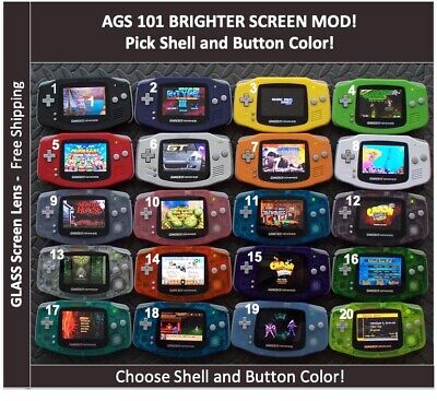 Nintendo Game Boy Advance  System AGS101 Backlit Mod-Glass Screen-Pick Color!