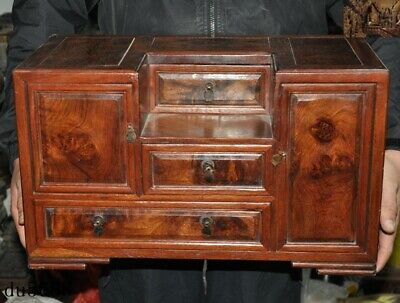 Old China dynasty Huanghuali wood carved Jewelry drawer Box Boxes make up Tables