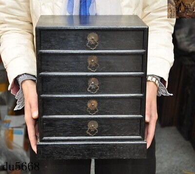 "12""Old Chinese dynasty Rosewood wood Hand-carve Jewelry drawer Storage Box Boxes"