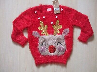 "Bnwt George Red Fluffy ""Reindeer"" Theme Christmas Jumper Age  12 - 18 Months"