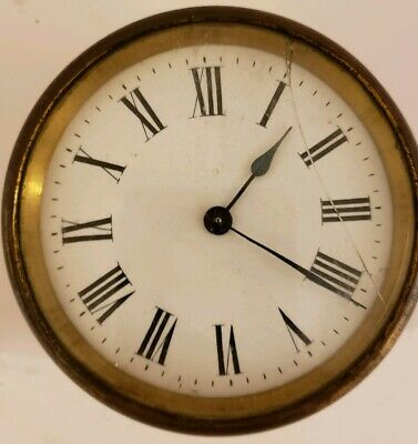 Antique 19th C. Round French Victorian Brass Mechanical 8 Day Clock Movement