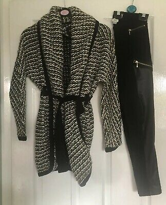 Girls River Island Age 9 10 Outfit Cardgian And Faux Leather Panel Leggings 99p