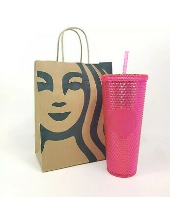 STARBUCKS 2019 Neon Pink Studded Cold Cup Tumbler IN HAND!!!  24 oz