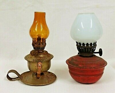Pair of Small Antique Paraffin Oil Wall & Table Lamps